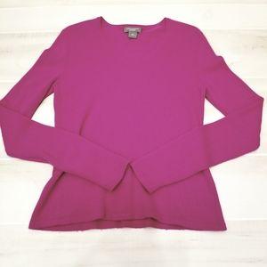 {M} Ann Taylor Magenta 100% Cashmere Sweater